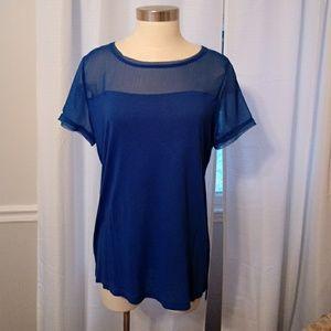 NWT. Pretty royal blue sheer short sleeve top LG.